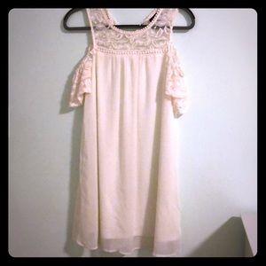 As U Wish Dresses - As U Wish White Cold Shoulder Lace Dress